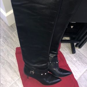 VALENTINO ROCKSTUD Knee-length Black Leather Boots